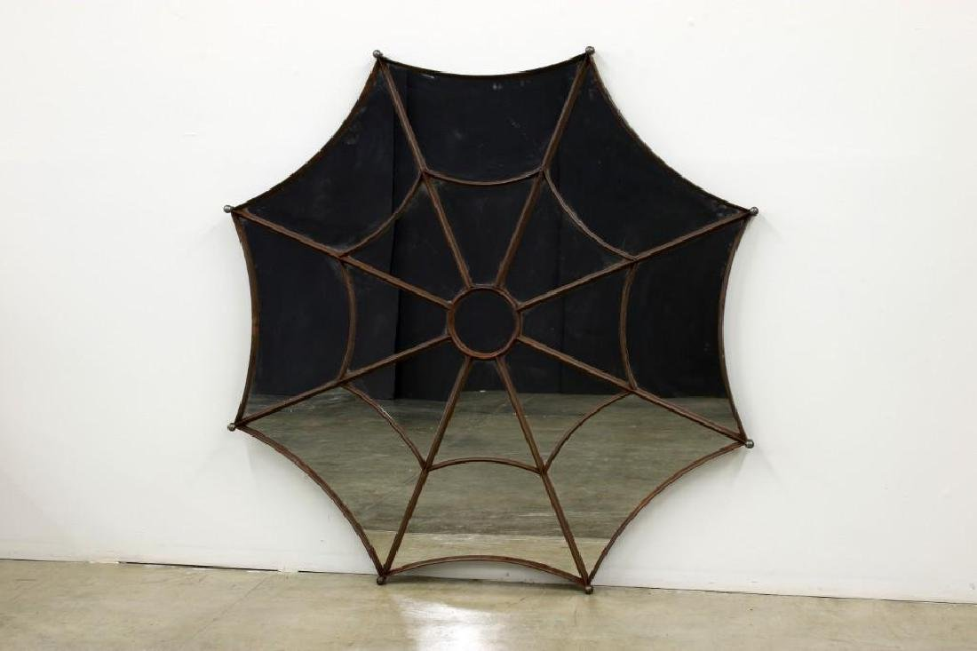 1920s French Cast Iron Spider Web Mirror