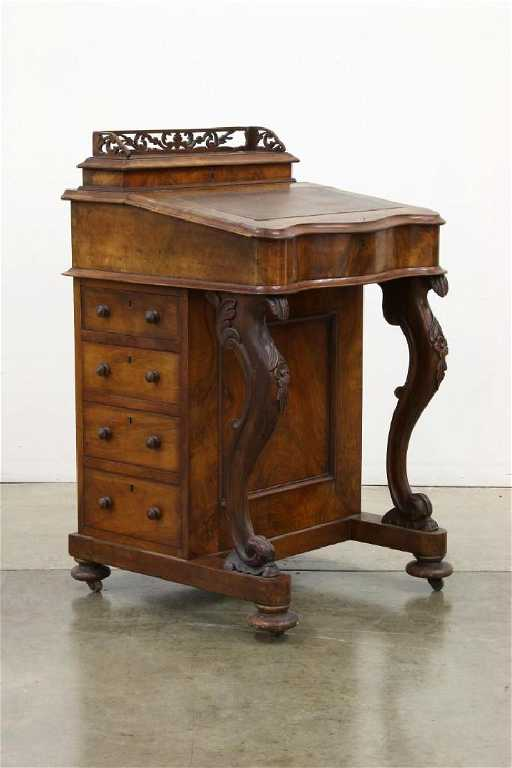 - 19th C. English Wood Davenport Captains Desk