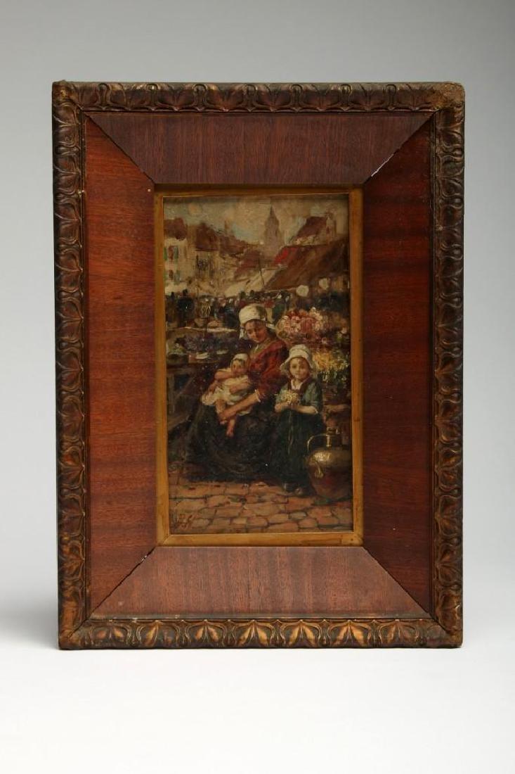 Dutch Flower Monger Girls Signed Antique Oil On Wood