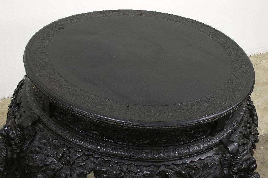 Antique Japanese Chrysanthemum Dragon Carved Wood Table - 3