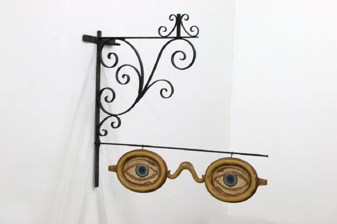 Optometrist Eyeglass Trade Sign Repro on Metal Bracket