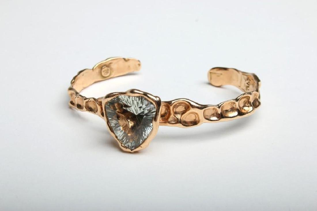18K Gold with Spinel Cuff Bracelet