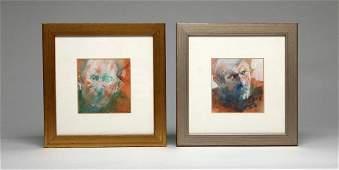 Joyce Treiman 2 Portraits Head Oil On Board 1967