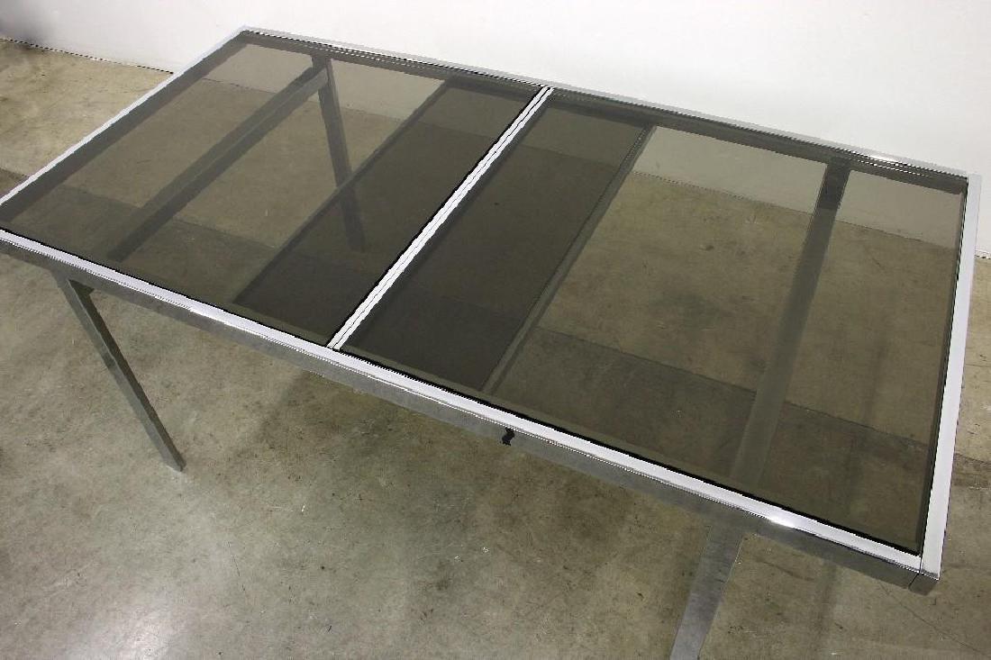 Milo Baughman Chrome Smoked Glass Table + 6 Chairs