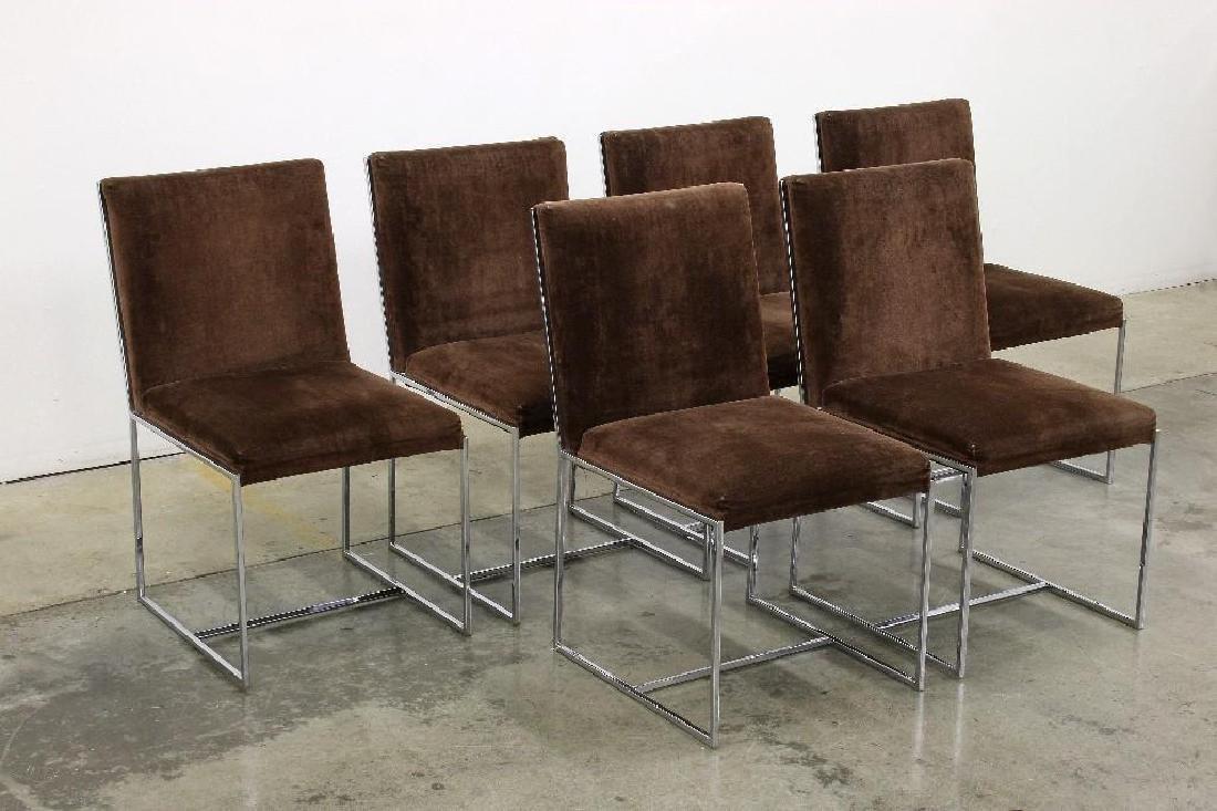 Milo Baughman Chrome Smoked Glass Table + 6 Chairs - 2