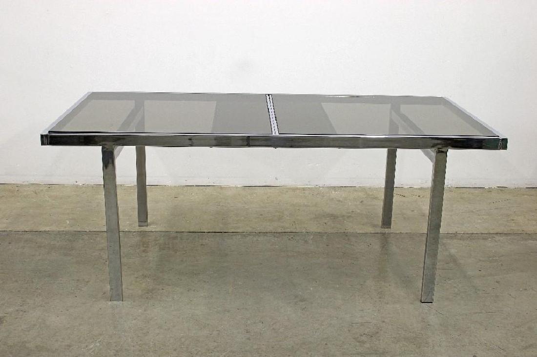 Milo Baughman Chrome Smoked Glass Table + 6 Chairs - 3