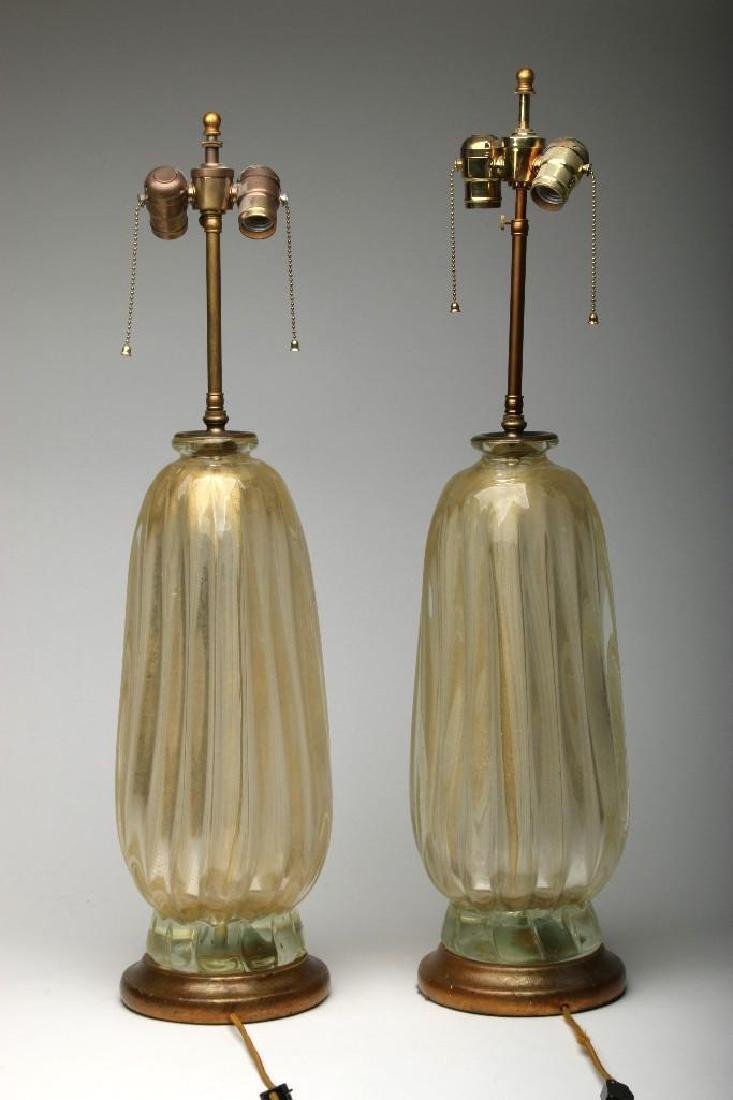 Pair (2) Large Italian Murano Lamps Ribbed Gold Glass