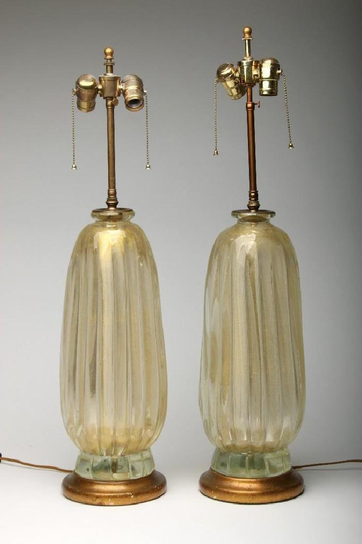 Pair (2) Large Italian Murano Lamps Ribbed Gold Glass - 4