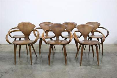 Group Of Seven Norman Cherner Plycraft Dining Chairs
