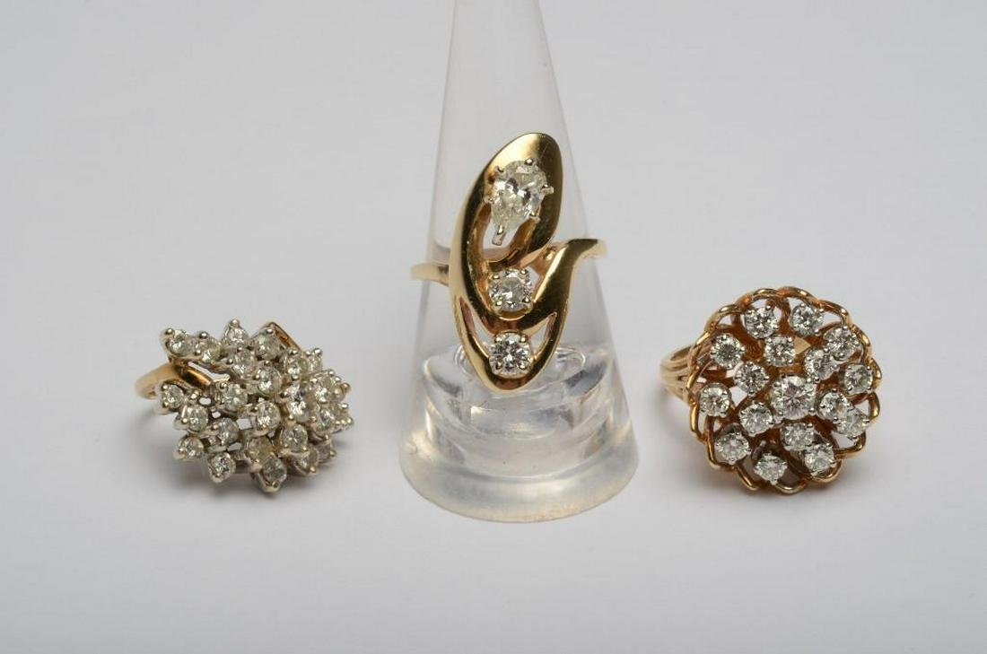 Group of Three (3) 14K Gold Rings with 4 ct Diamonds