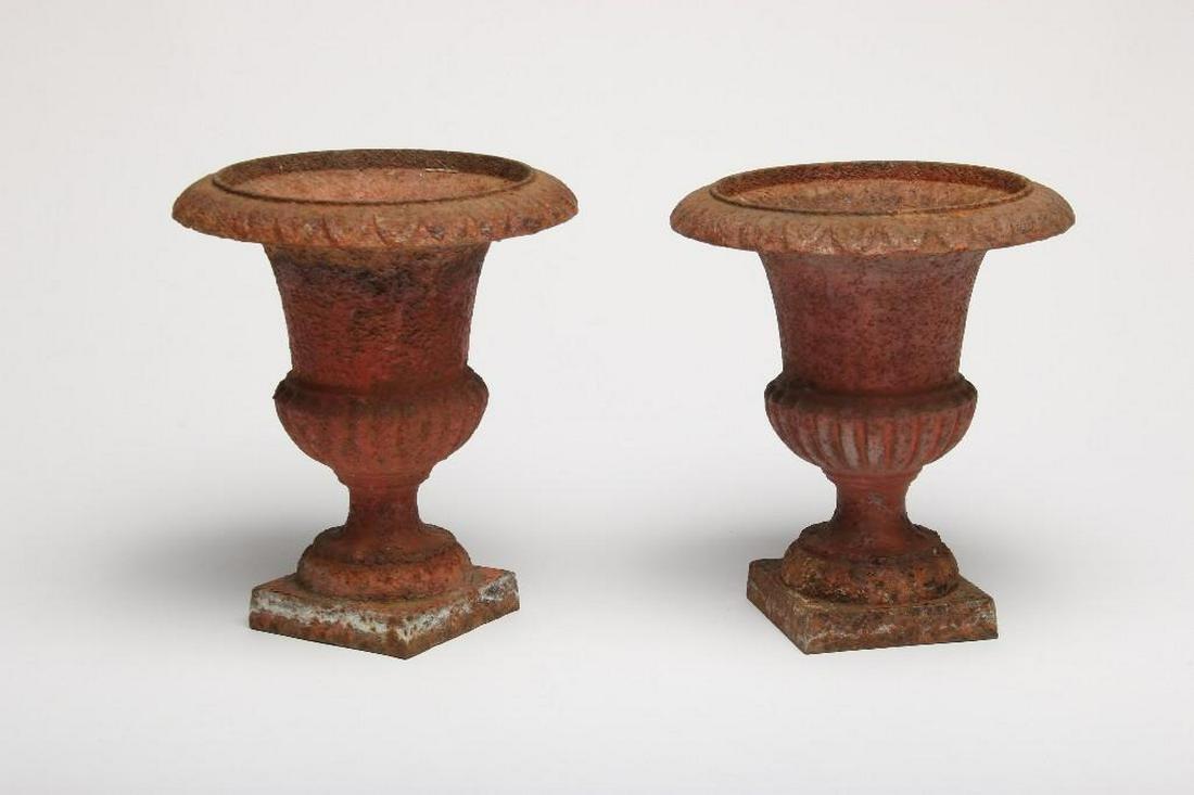 Pair French Cast Iron Garden Urns