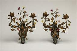 Pair Antique Metal and Porcelain French Wall Sconces