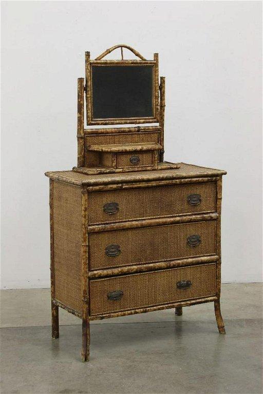 Antique Victorian Rattan 3 Drawer Dresser Vanity Mirror