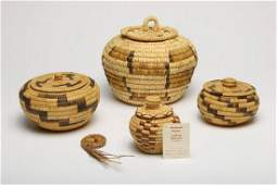 Group of 4 Native American Indian Papago Baskets & Lids
