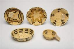 Group of 5 Native American Papago Indian Baskets