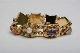 14K Yellow Gold Vintage 8 Slide Charms Bracelet Gems