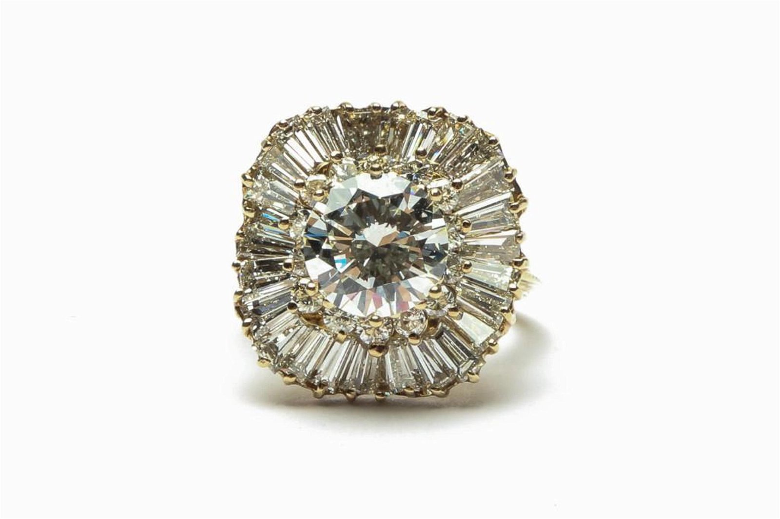 3.9 Ct 14k Diamond Gold Ring GIA Certified
