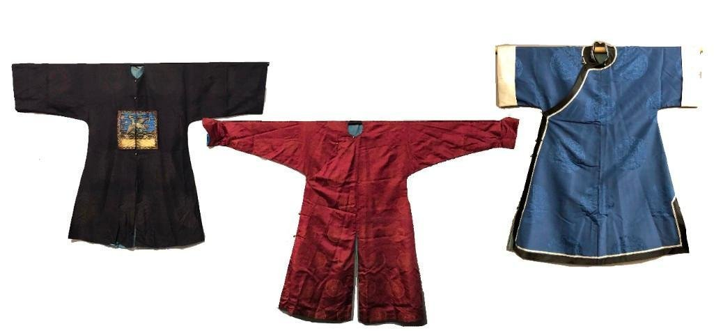 Group of 3 Vintage Chinese Asian Silk Robes