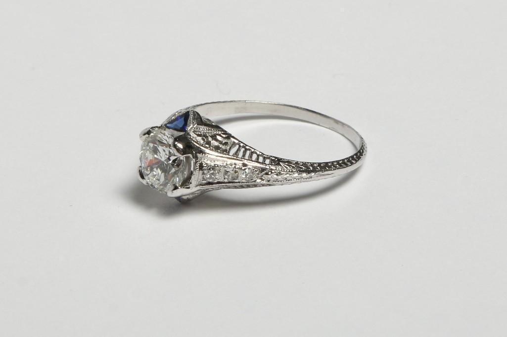 Platinum 1.1 ct Diamond & Sapphire Ring