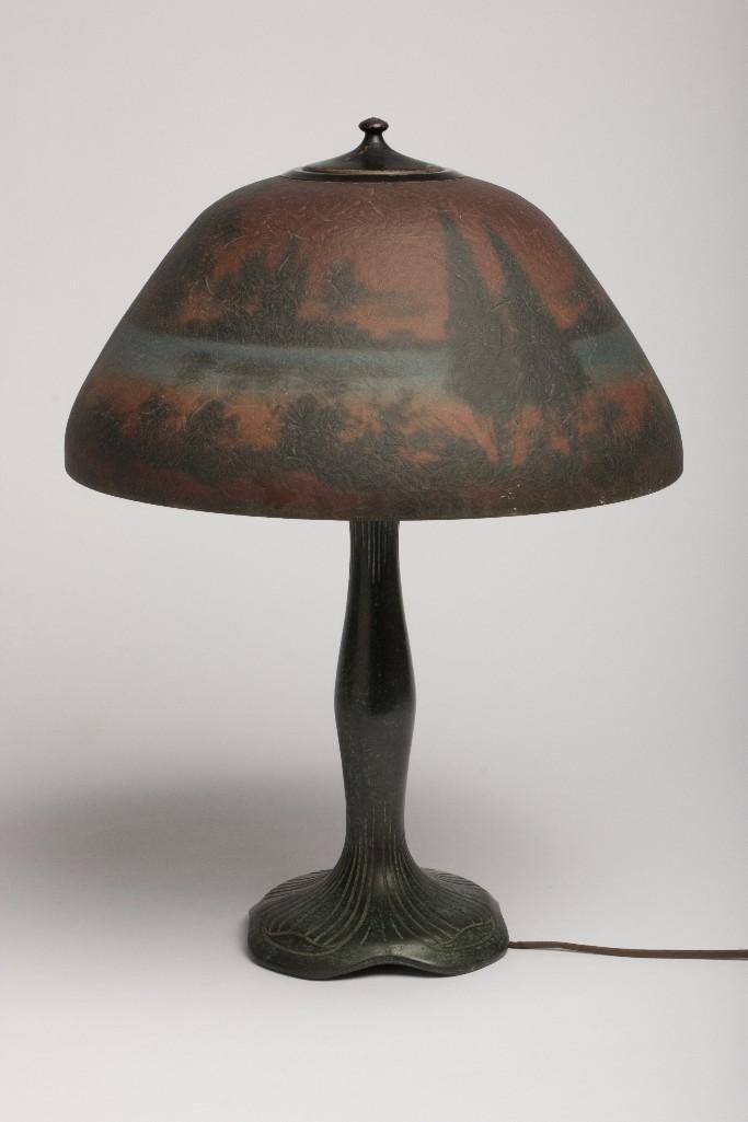 Arts & Crafts Moe Bridges Reverse Painted Lamp and Base