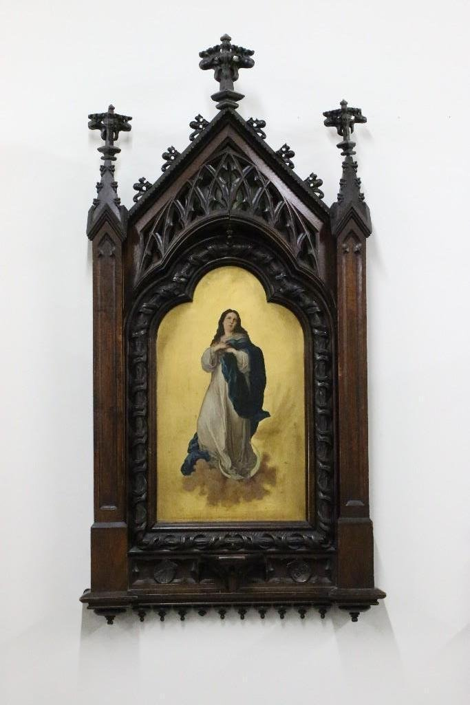 1860's Gothic Spanish Revival Mary Painting on Panel