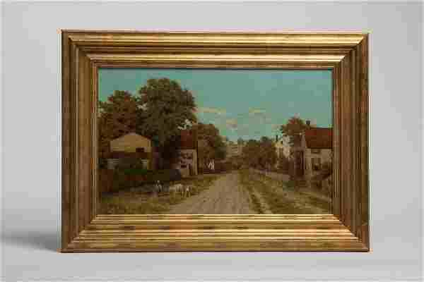 Charles T. Phelan (1840-1917) Oil on Panel, Village