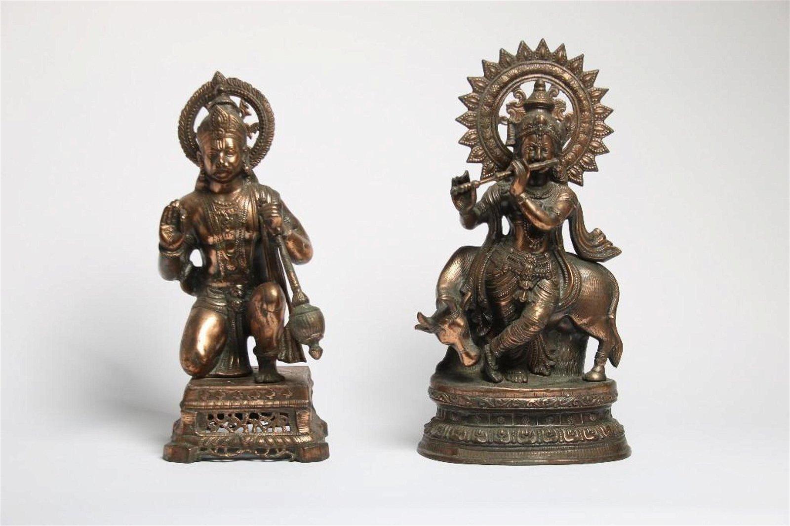 Pair of Copper Hindu Gods Hanuman