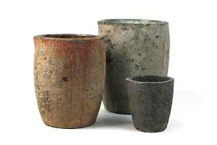 Group of 3 Vintage Crucibles Volcanic Lava Planters