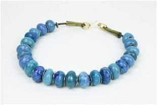 Doyle Lane (1925-2002) Ceramic Blue Bead Necklace
