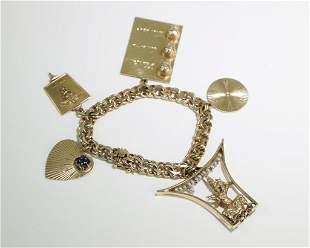 14K Gold Vintage Charm Bracelet