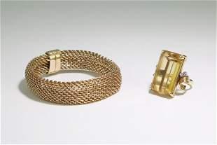 14K Gold Mesh Bracelet & 14K Citrine Cocktail Ring