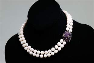 Double Strand Pearl Necklace w/Gold Amethyst Clasp