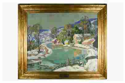 Fern Coppedge (1883-1951) Oil on Canvas Frozen Canal