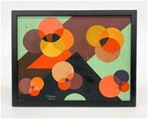 V. Ferguson Acrylic on Canvas Board Geometric Circles