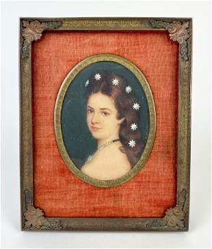 Artist Unknown Miniature Portrait Painting Young Woman