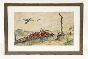 Pencil Signed Watercolor on Paper, Electric Trains