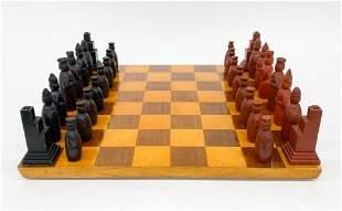 Vintage Carved Wooden Chess Set