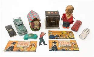 Group of Vintage Tin Toys and Plastic Cars