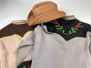Lot of 3 Western Vintage Clothing 2 Shirt and 1 Hat