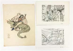 David Damron Lot of (19) Pencil Drawings on Paper