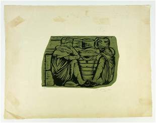 Artist Unknown Pencil Signed 1/20 Woodblock Print 1962
