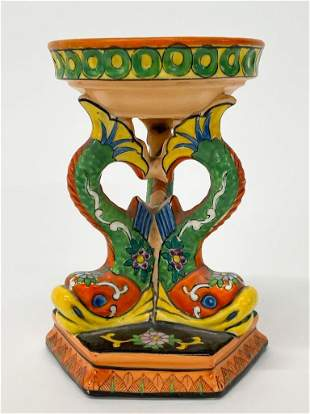 Vintage Hand Painted Porcelain Stand w/ Dolphins Japan