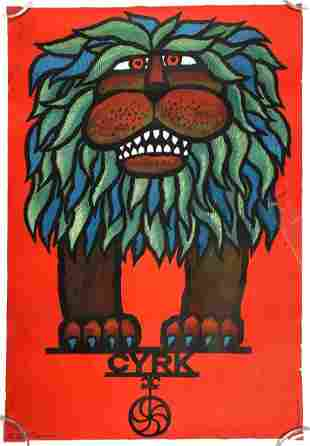 CYRK Polish circus Poster Hubert Hilscher Lion