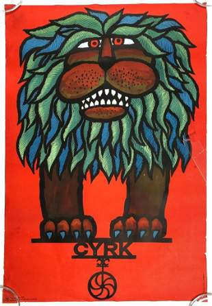 CYRK Polish circus Poster Hubert Hilscher Lion