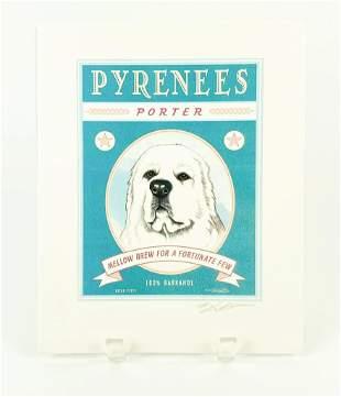 "Krista Brooks Pencil Signed ""Retro Pets"" Pyrenees Dog"
