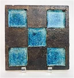 Japanese Studio Pottery Cobalt Charcoal Tile