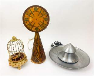 Group Vintage Mechanical Lamp, Clock, Wind Up Bird