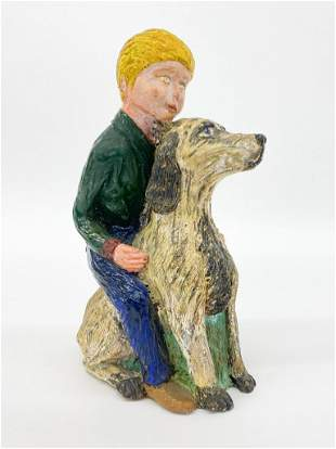 Hand Painted Plaster Cast Figure, Boy and His Dog