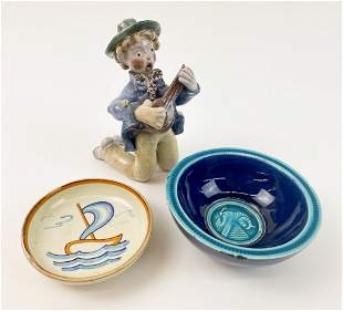 Lot of 3 Mid-Century Modern Ceramic Figurine, Bowl
