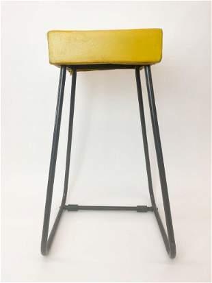 Vintage Mid-Century Aluminum Stool w/ Yellow Vinyl Seat